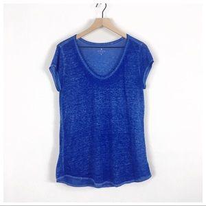 Athleta Blue Space Dye Burnout Tee Size Medium
